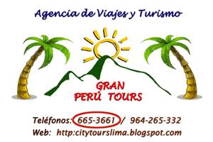 Gran Perú Tours, ACTIV. DE TRANSP. COMPLEMENTARIAS Y AUXILIARES, ACTIVIDADES DE AGENCIAS DE VIAJE, LIMA, Viajes a Peru | Trips to Peru | tour a Peru | Lima tours| city tour Lima | Tours Cusco | City tour Cusco | Machupicchu tour