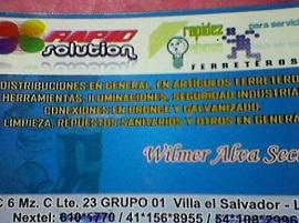 RAPID SOLUTIONS , ACTIVIDADES RELACIONADAS CON BASES DE DATOS, VILLA EL SALVADOR, ferreteria en general